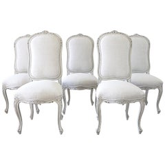 Set of 5 Painted and Upholstered Dining Room Chairs in Belgian Linen