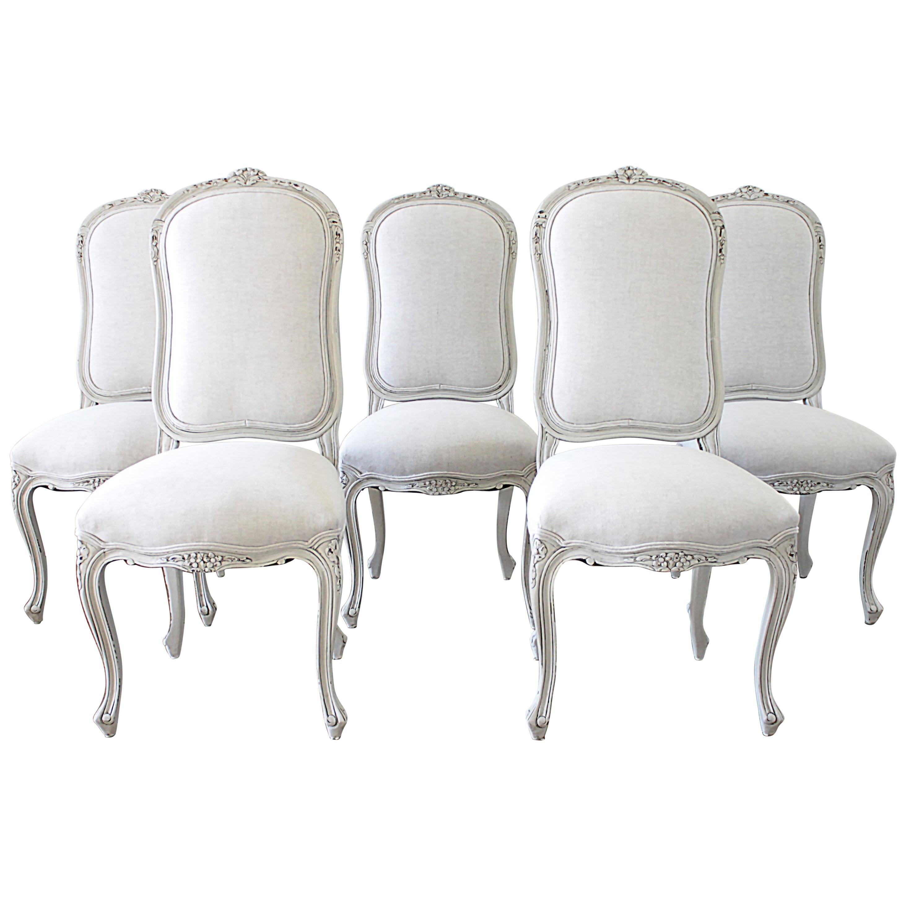 Awesome Set Of 5 Painted And Upholstered Dining Room Chairs In Belgian Linen For  Sale