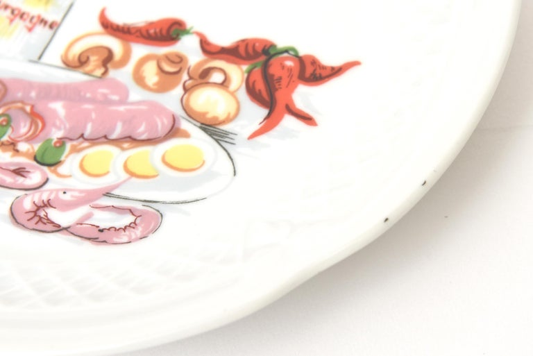 Set of 5 Philippe Deshoullieres Porcelain Appetizer or Desert Plates Vintage For Sale 4