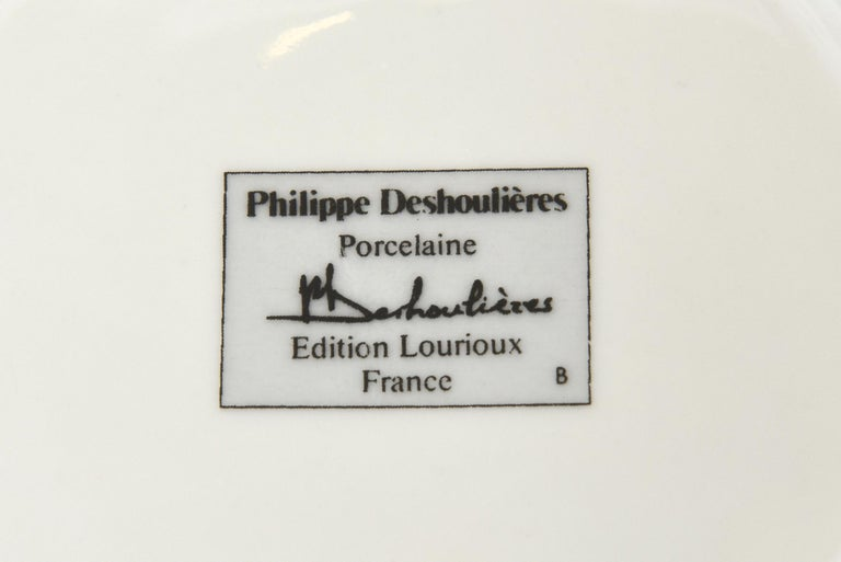 Set of 5 Philippe Deshoullieres Porcelain Appetizer or Desert Plates Vintage For Sale 2
