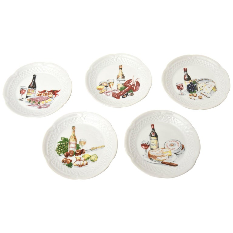Set of 5 Philippe Deshoullieres Porcelain Appetizer or Desert Plates Vintage For Sale