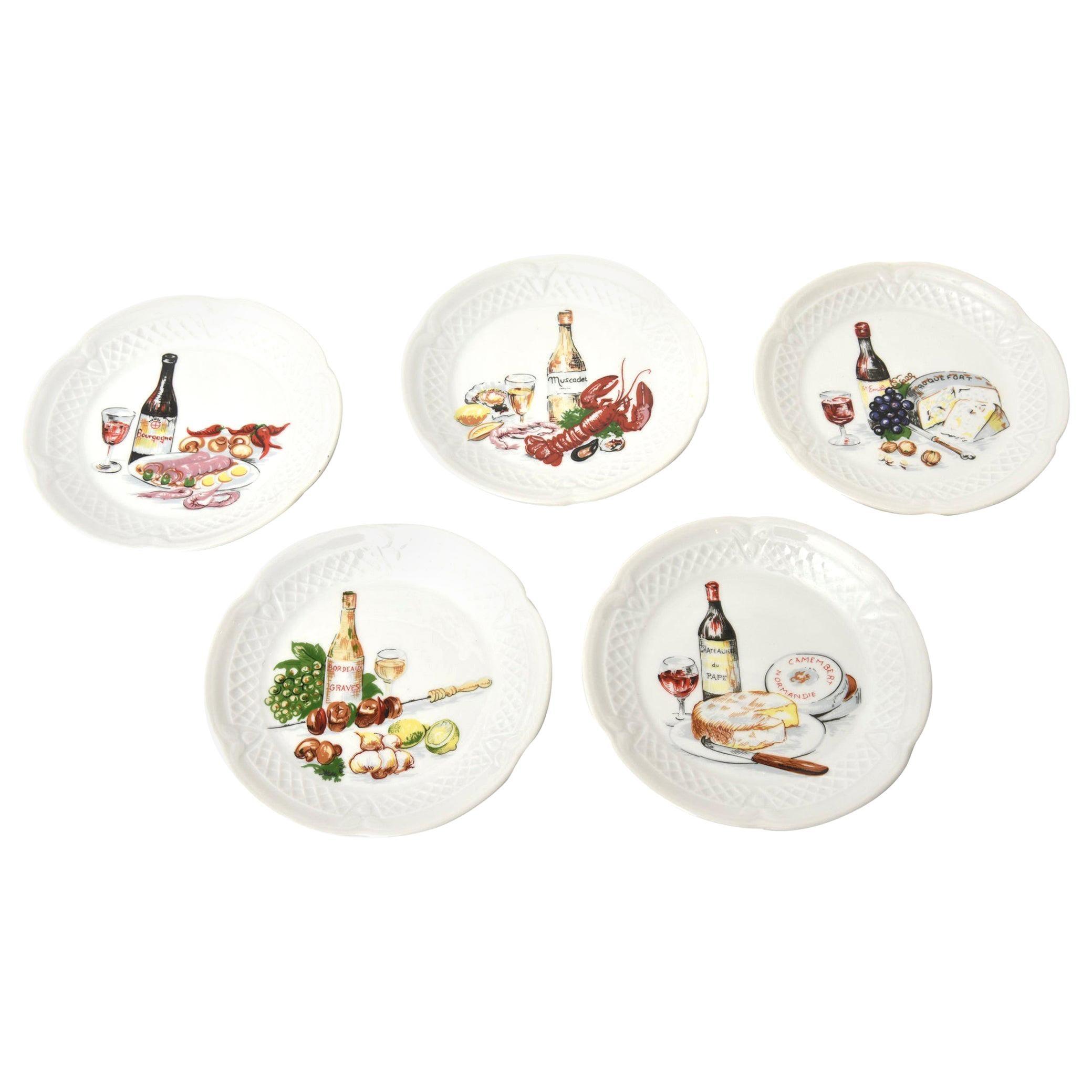 Set of 5 Philippe Deshoullieres Porcelain Appetizer or Desert Plates Vintage