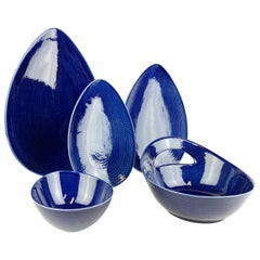 Set of 5 Pieces Blue Fire Rörstrand Hertha Bengtson, Sweden