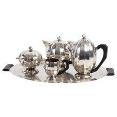 Set of 5 Pieces, Coffee Maker, Teapot, Milk Pot, Sugar Bowl, Tray, Silver Metal