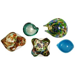 Set of 5 Pieces Italian Murano Glass Dishes AVeM Tutti Frutti and Others Blues
