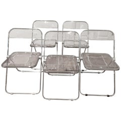 Set of 5 Plia Lucite Folding Chairs by Castelli