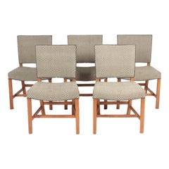 "Set of 5 ""Red Chairs"" in Oak Designed by Kaare Klint, Danish Design, 1950s"