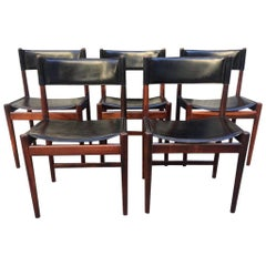 Set of 5 Rio Rosewood and Black Leather Dining Chair by Arne Vodder