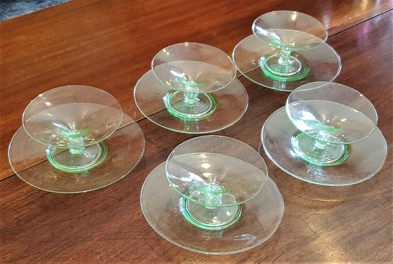 Art Deco Set of 5 Salviati Venetian Compote Glasses with Dish For Sale