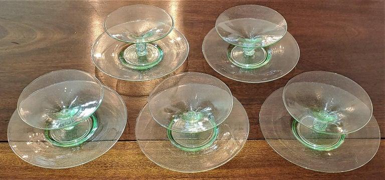 Italian Set of 5 Salviati Venetian Compote Glasses with Dish For Sale
