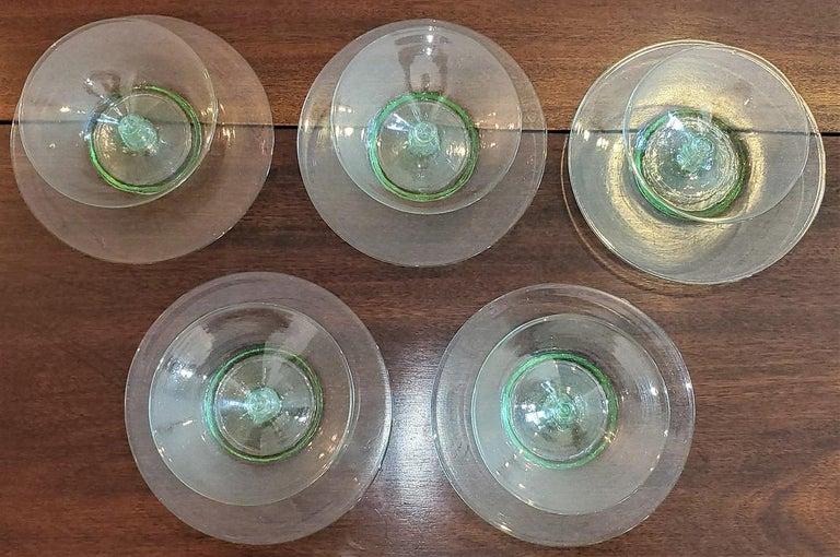 Appliqué Set of 5 Salviati Venetian Compote Glasses with Dish For Sale