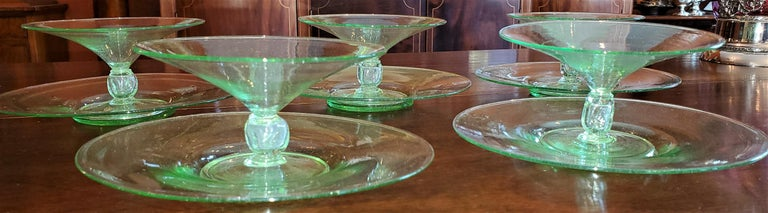 Set of 5 Salviati Venetian Compote Glasses with Dish In Excellent Condition For Sale In Dallas, TX