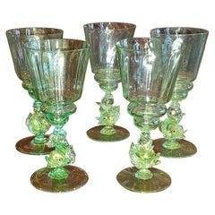 Set of 5 Salviati Venetian Glass Dolphin Large Wine Goblets