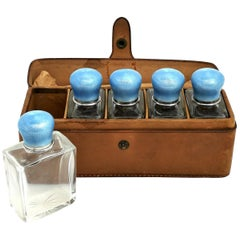 Set of 5 Silver and Enamel Topped Glass Scent Bottles 1912 Perfume / Cosmetics