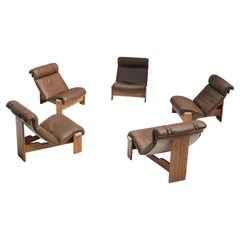 Set of 5 Sling Chairs Attributed to Durlet, Belgium, 1970s