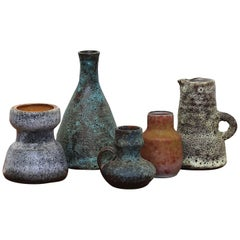 Set of 5 Small Dutch Ceramic Vases