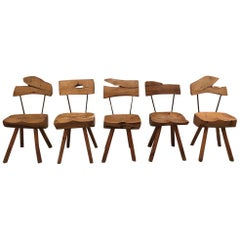 Set of 5 Solid Olive Wood Brutalist Rustic Dining Chairs, circa 1950s