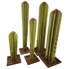 Set of 5 Spanish Hand Painted Cactus Iron Sculptures