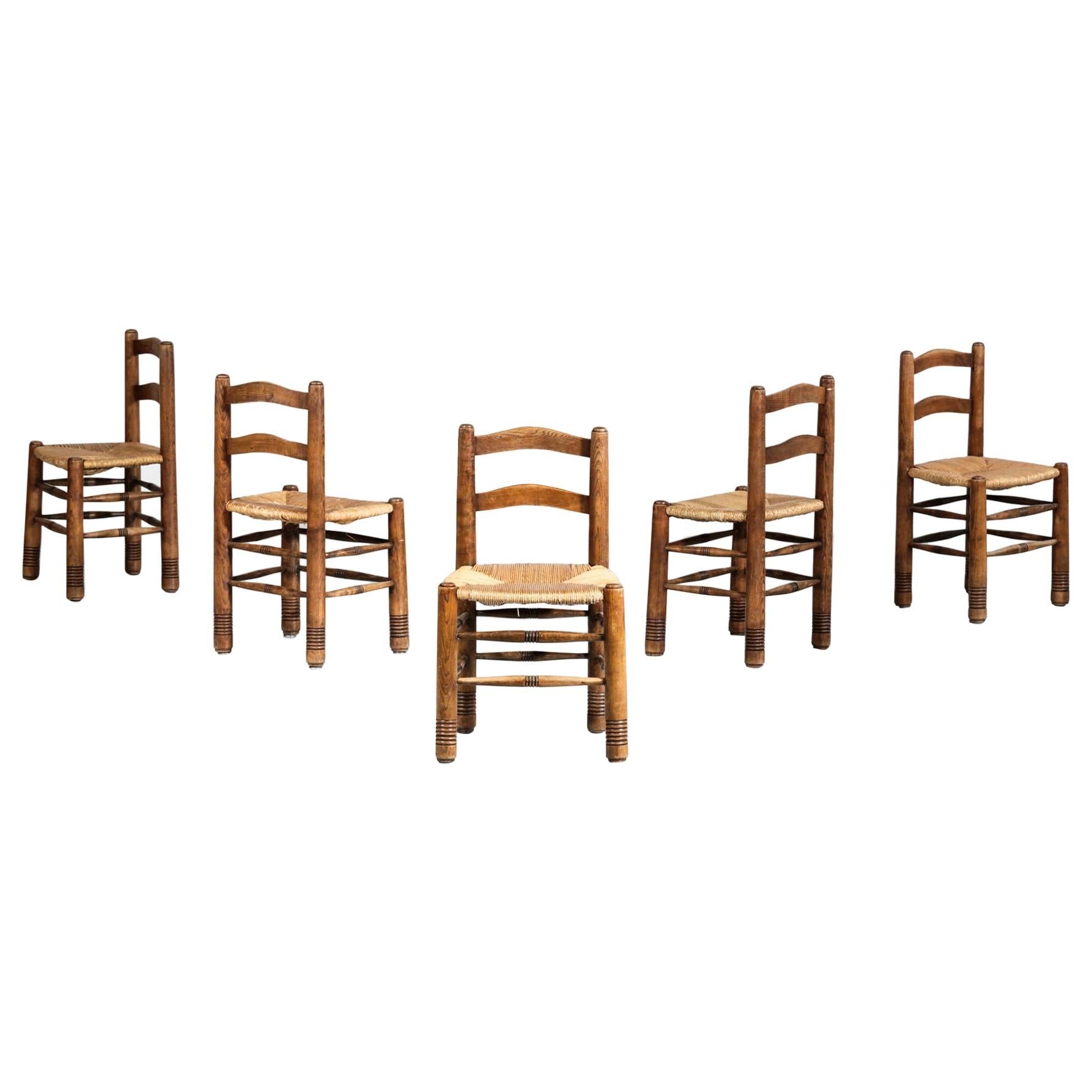 Set of 5 Straw Chairs Charles Dudouyt Style French Design