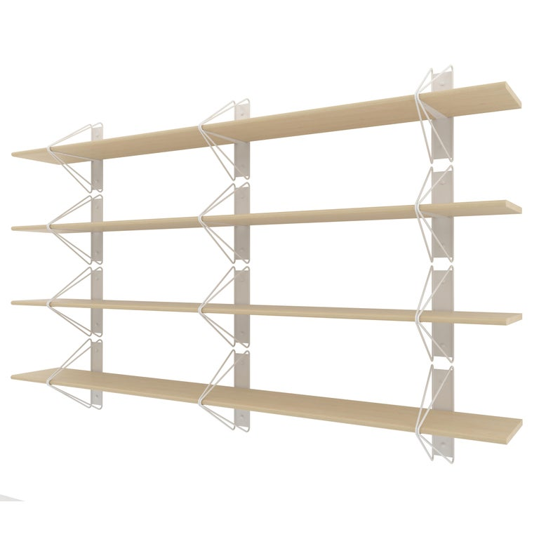American Set of 5 Strut Shelves from Souda, White, Modern Wood Wall Shelf or Bookcase For Sale