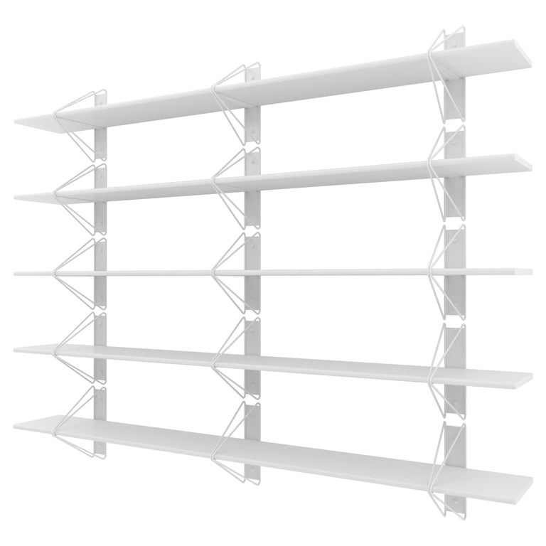 Set of 5 Strut Shelves from Souda, White, Modern Wood Wall Shelf or Bookcase For Sale