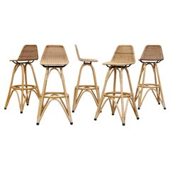 Set of 5 Tall Mid-Century Bamboo Bar Stools