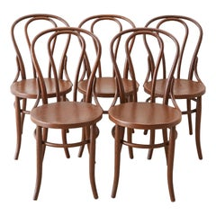Set of 5 Thonet Style Bentwood Bistro Chairs