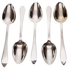 Set of 5 Tiffany & Co Sterling Silver Faneuil Pattern Oval Spoons