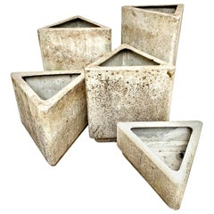 Set of 5 Triangular Planters by Willy Guhl