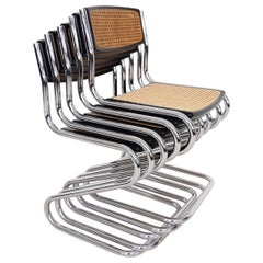 Set of 5 Tubular Chrome Dining Chairs with Cane Seating and Back