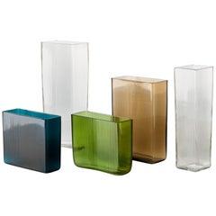 Set of 5 Vintage 'ISI' Vases by Lennart Andersson Gullaskruf Glasbruk, Sweden