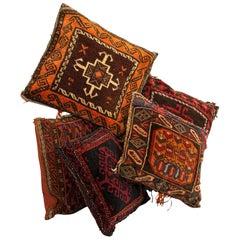 Set of 5, Vintage Kilim Cushions, North African, Camel Bag, Throw Pillows, 1950