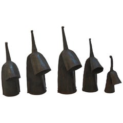 Set of 5 Vintage Metal Hand Produced Decorative Agogo Bells from Ghana