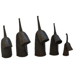 Set of 5 Vintage Metal Hand Produced Decorative Agogo Bells from Ghana