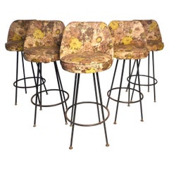 Set of 5 Vintage Modern Swivel Stools by Admiral Chrome Corp