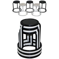 Set of 5 Visibility New York Champ Stacking Stools Metal Frame Oak Top