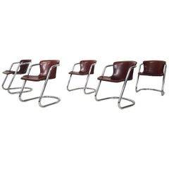 Set of 5 Willy Rizzo for Cidue, Dining Chairs