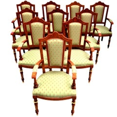 Set of 50 MiceVersailles Upholstered Rosewood Inlaid Gilt Bronze Dinner Chairs