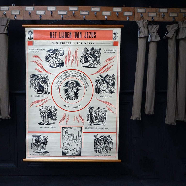 Fabric Set of 57 Bellarminus Biblical Sunday School Posters in Canvas Pouches, 1950 For Sale