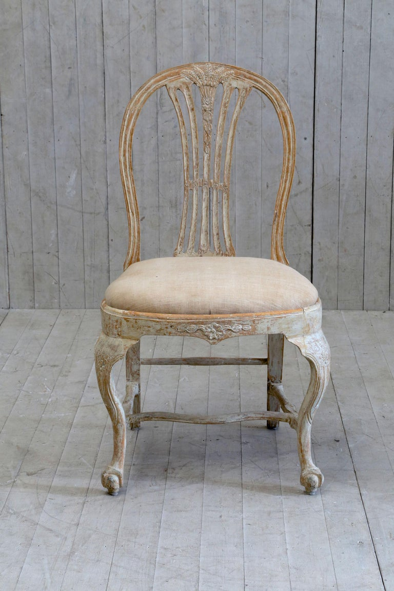 Painted Set of 6 18th Century Swedish Dining Chairs For Sale