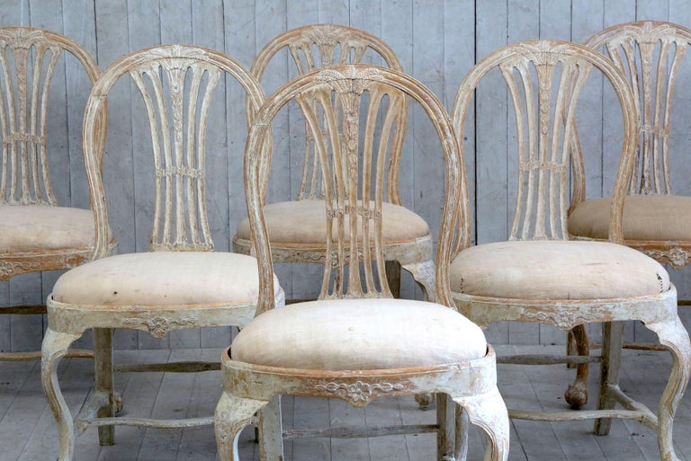 Set of 6 18th Century Swedish Dining Chairs In Good Condition For Sale In Poling, West Sussex