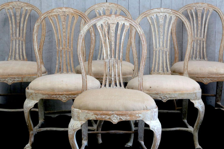 18th Century and Earlier Set of 6 18th Century Swedish Dining Chairs For Sale