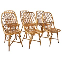 Set of 6 1940s French Rattan Dining Chairs
