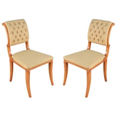 Set of 6 1940s French Sycamore Silk Side Chairs Attributed to Arbus