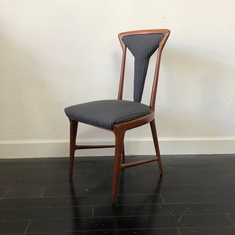 Mid-20th Century Set of 6, 1950's Carlo De Carli Upholstered Dining Chairs For Sale