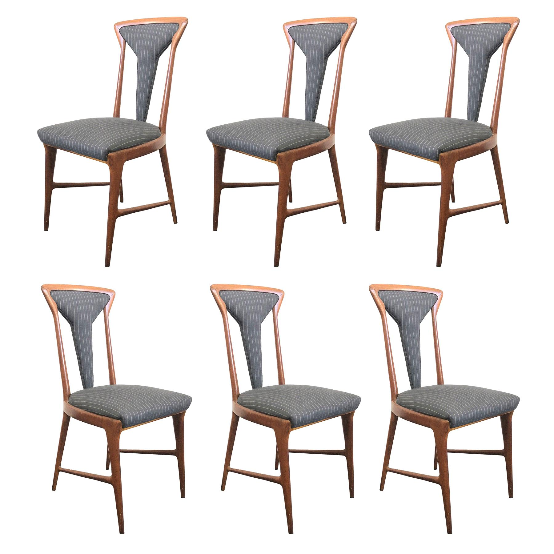 Set of 6, 1950's Carlo De Carli Upholstered Dining Chairs
