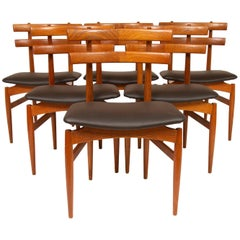 Set of 6 1950s Mid Century Poul Hundevad Teak & Leather Model 30 Dining Chairs