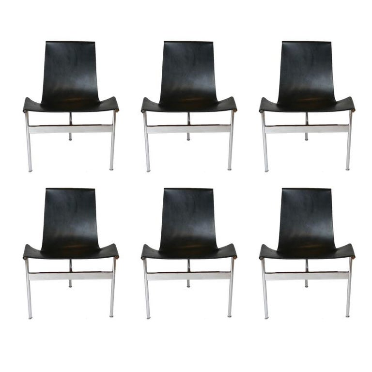 "Set of 6 1952 Katavolos Kelley & Littell for Laverne ""T"" Chairs in Black Leather For Sale"
