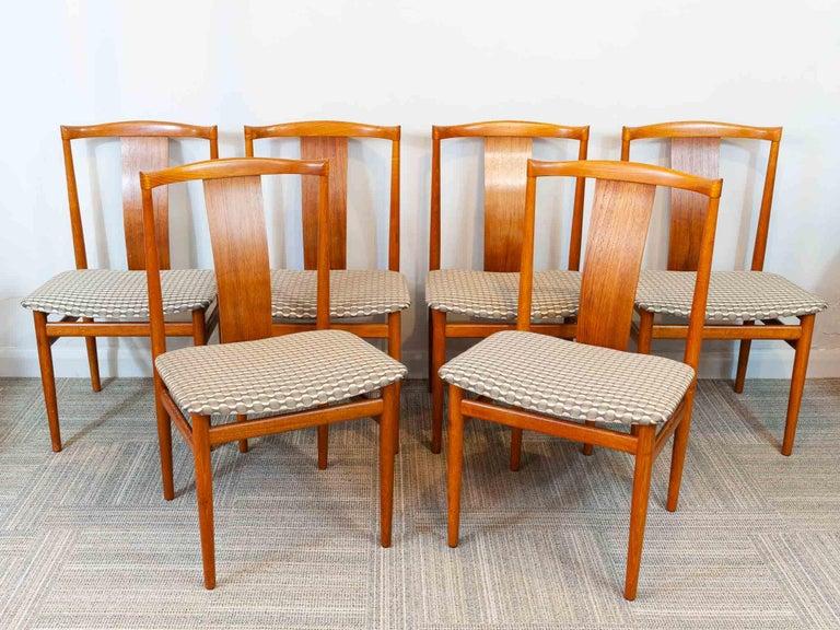Mid-Century Modern Set of 6 1960s Danish Teak Dining Chairs by Henning Sorensen for Danex For Sale