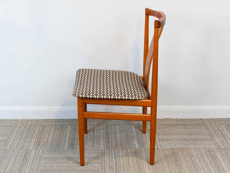Fabric Set of 6 1960s Danish Teak Dining Chairs by Henning Sorensen for Danex For Sale